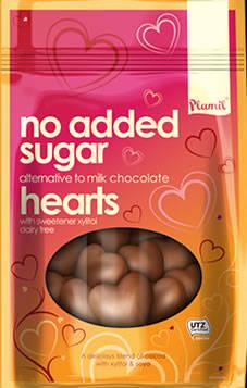 Corações de chocolate sem açúcar 125g - sem glúten