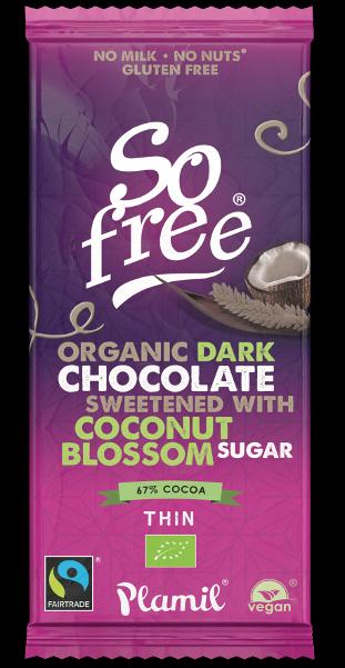 Chocolate ôrganico de comércio justo com açúcar de coco 80g - sem glúten