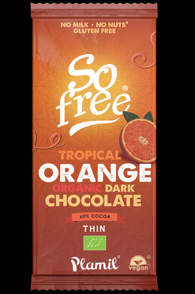 Chocolate Negro orgânico com laranja tropical 80g - sem glúten
